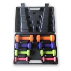 Gymnastics dumbbell set (8 pieces) 10 kg - with case